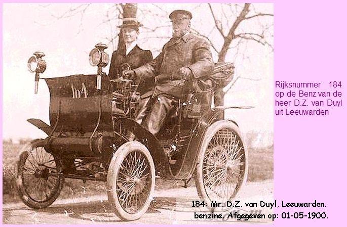 Rijksnummer 184 op de Benz van de heer D.Z. van Duyl uit Leeuwarden